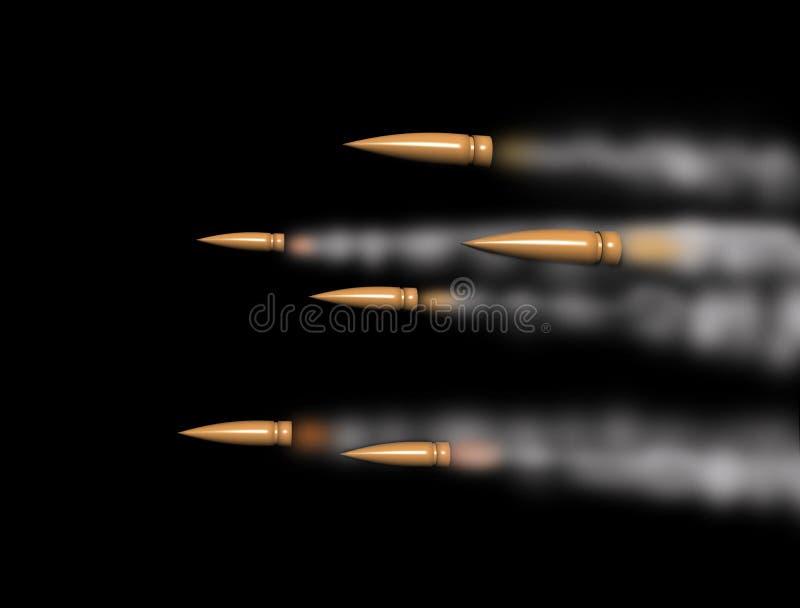 Balas do rifle que apressam-se com fuga do fumo ilustração stock
