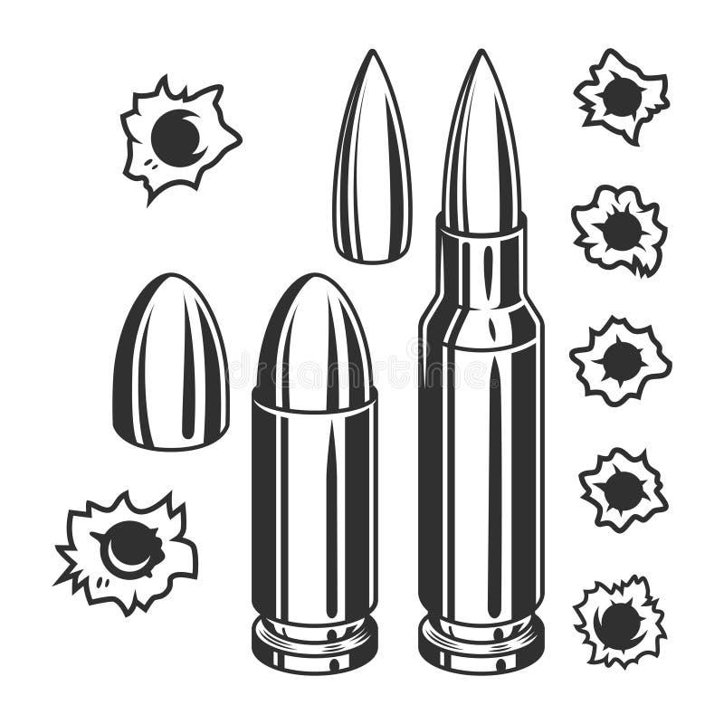 Balas e buracos de bala do vintage ajustados ilustração royalty free