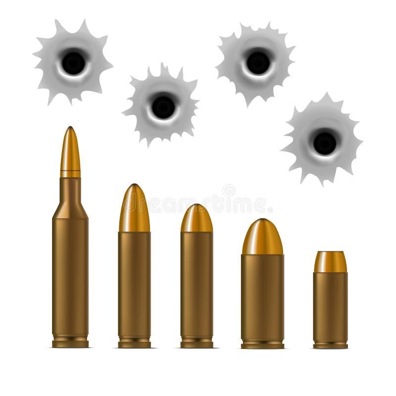 Balas realistas 3d y agujeros de bala detallados fijados Vector ilustración del vector