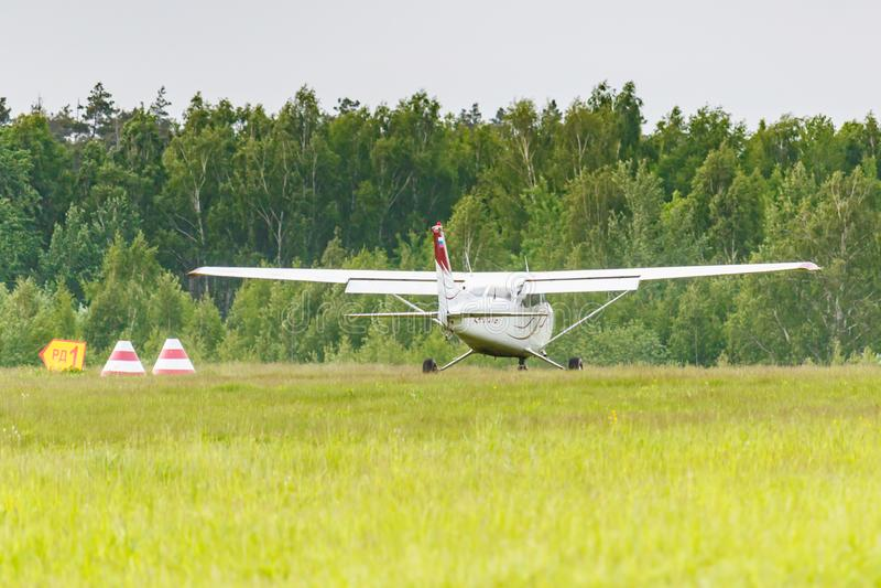 Balashikha, Moscow region, Russia - May 25, 2019: American light aircraft Cessna 172 Skyhawk RA-0937G on a Chyornoe airfield at. The Aviation festival Sky stock photography