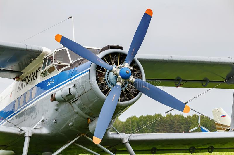 Balashikha, Moscow region, Russia - May 25, 2019: Pilots cabin and engine with four blade propeller of soviet aircraft biplane royalty free stock image