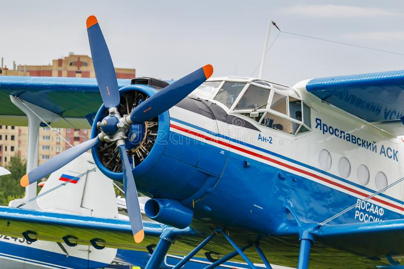 Balashikha, Moscow region, Russia - May 25, 2019: Pilots cabin and engine with four blade propeller of soviet aircraft biplane. Antonov AN-2 at Aviation stock images