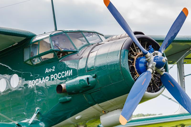 Balashikha, Moscow region, Russia - May 25, 2019: Pilots cabin and engine with four blade propeller of soviet aircraft biplane. Antonov AN-2 closeup at Aviation royalty free stock image