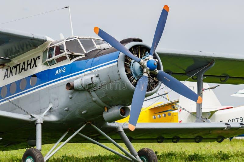Balashikha, Moscow region, Russia - May 25, 2019: Pilots cabin and engine with four blade propeller of soviet aircraft biplane. Antonov AN-2 closeup at Aviation royalty free stock photos