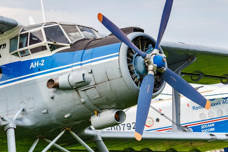 Balashikha, Moscow region, Russia - May 25, 2019: Pilots cabin and engine with four blade propeller of soviet aircraft biplane. Antonov AN-2 closeup at Aviation stock photo