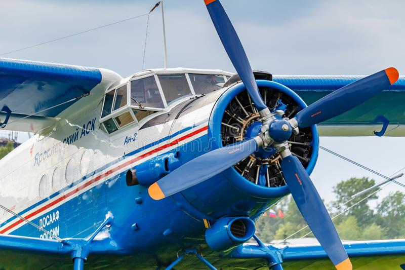 Balashikha, Moscow region, Russia - May 25, 2019: Pilots cabin and engine with four blade propeller of soviet aircraft biplane. Antonov AN-2 closeup at Aviation royalty free stock photography