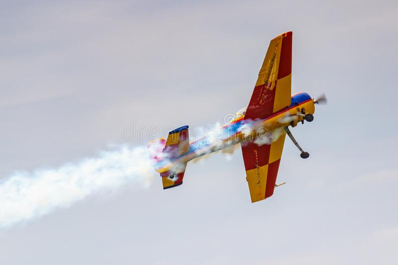 Balashikha, Moscow region, Russia - May 25, 2019: Russian sports and aerobatic aircraft SP-55F RA-2934G performs aerobatics over. Chyornoe airfield at the royalty free stock images