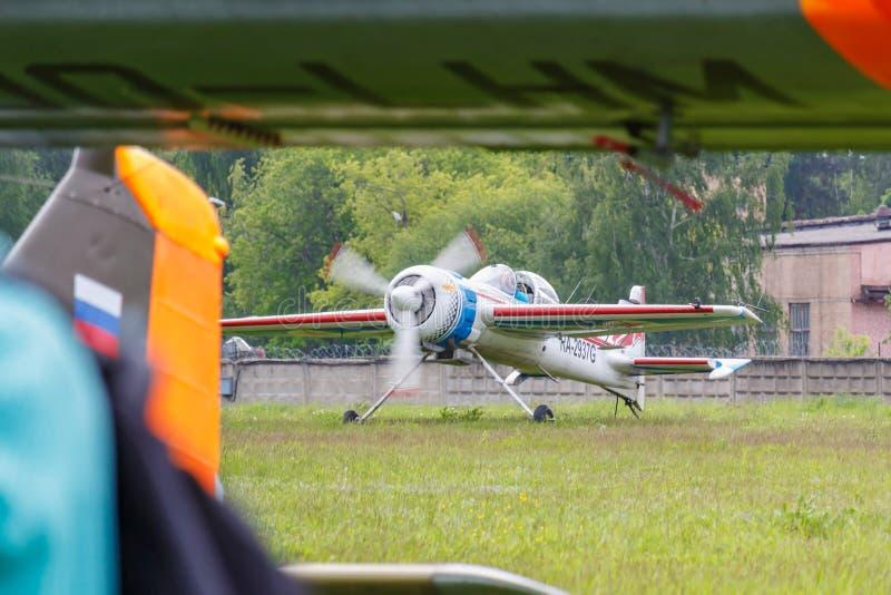 Balashikha, Moscow region, Russia - May 25, 2019: Russian sports and aerobatic aircraft SP-55M RA-2937G landing on Chyornoe. Airfield at Aviation festival Sky stock photos