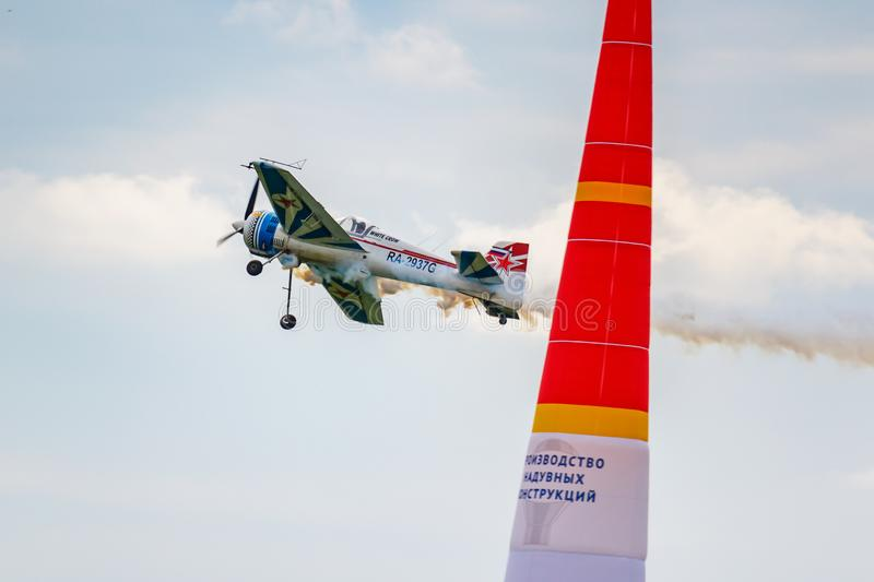 Balashikha, Moscow region, Russia - May 25, 2019: Russian sports and aerobatic aircraft SP-55M RA-2937G performs aerobatics over. Chyornoe airfield at the stock photography
