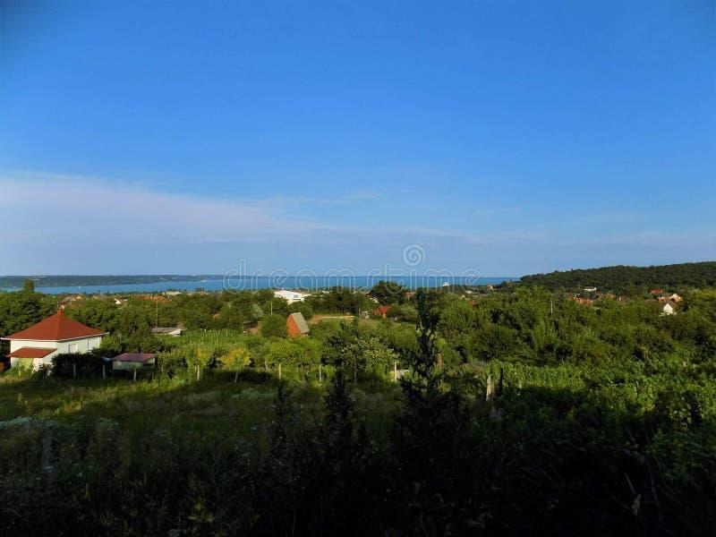 Balaton sjö, landskap, panorama royaltyfri bild