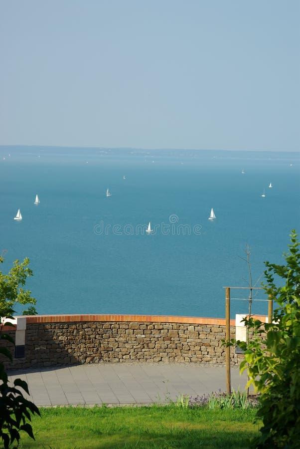 Balaton with white boats stock photos