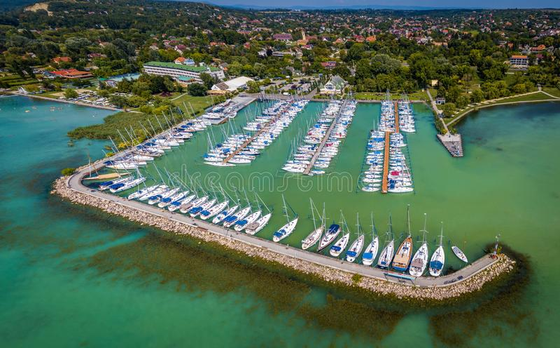 Balatonkenese, Hungary - Aerial panoramic view of Kenese Marina Port with lots of yachts and sailboats royalty free stock image