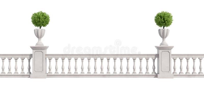 Balaustra classica isolata su bianco illustrazione vettoriale