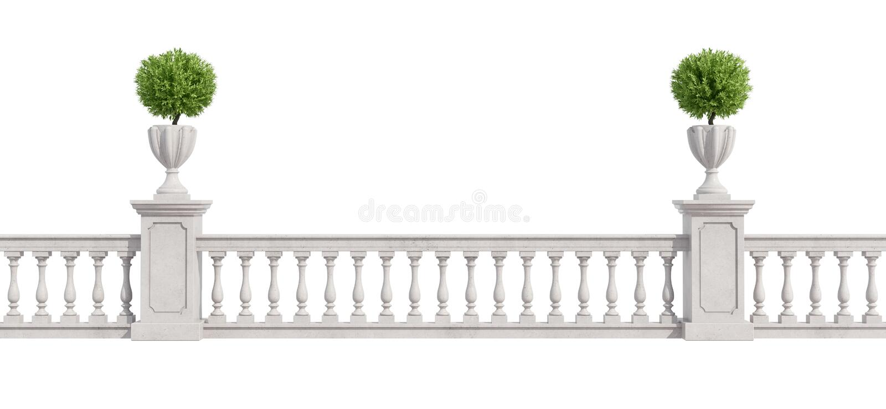 Balaustrada clássica isolada no branco ilustração do vetor