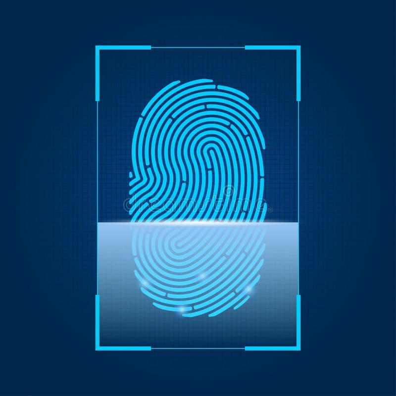 Balayage d'empreinte digitale Concept de sécurité, de mot de passe numérique et d'autorisation biométrique avec l'empreinte digit illustration stock