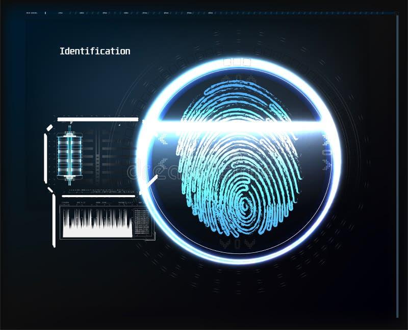 Balayage d'empreinte digitale sur l'illustration de vecteur de carte Fond abstrait de technologie illustration libre de droits