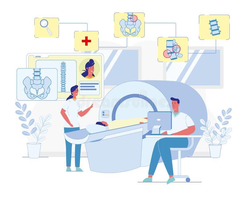 Balayage d'IRM pour le vecteur de diagnostics des maladies d'épine illustration libre de droits