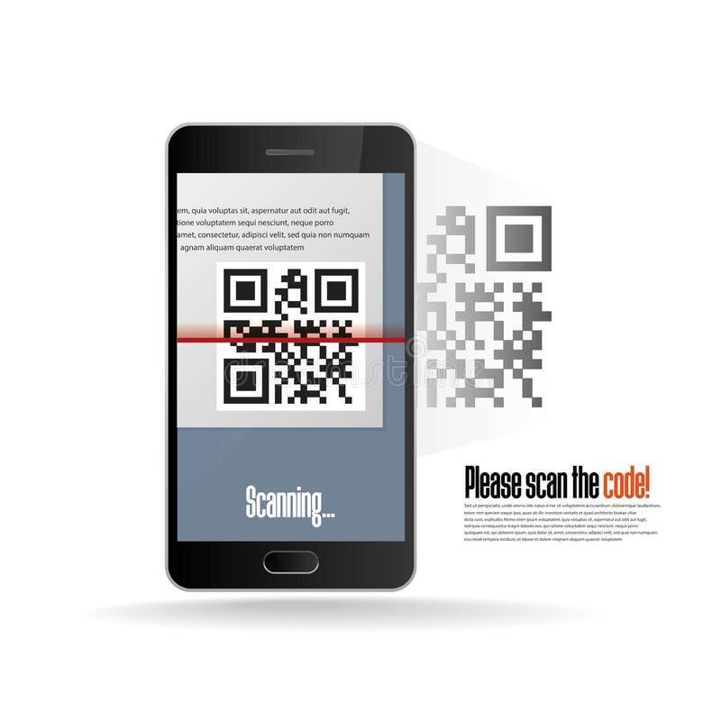 Balayage de code de QR avec le téléphone portable réaliste illustration stock