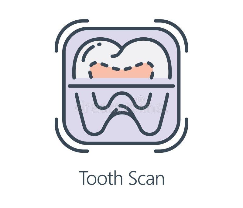 Balayage de dent de conception d'icône dans la ligne style plate illustration de vecteur