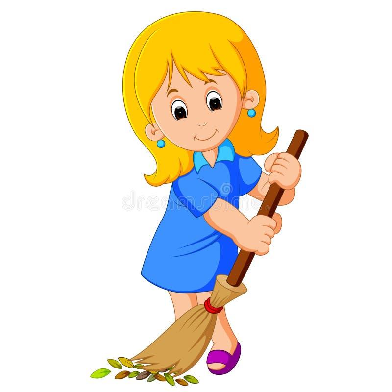 Balayage de jeune fille illustration de vecteur