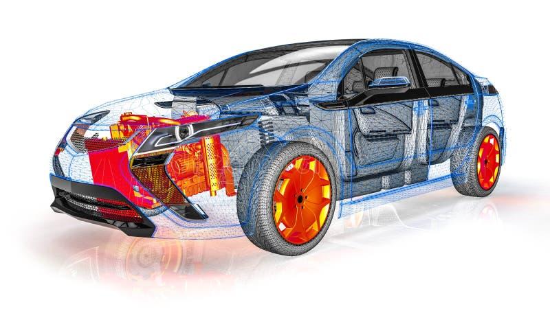 Balayage de moteur dans une voiture de cadre de fil illustration de vecteur