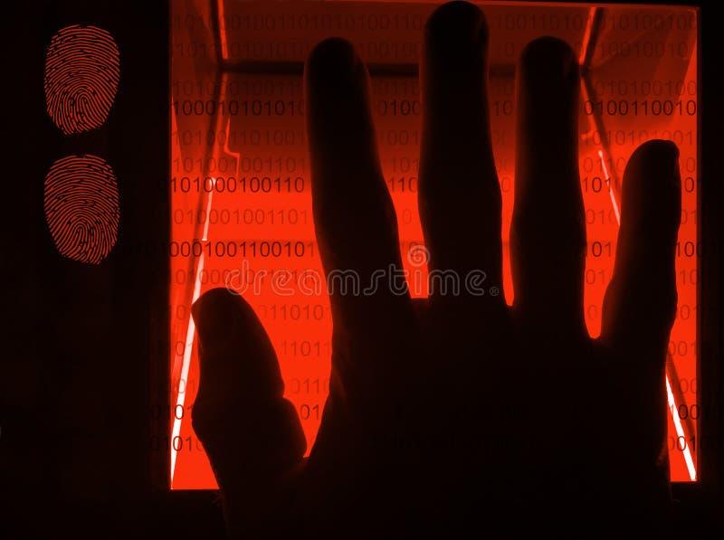 balayage numérique d'empreinte digitale de cybersecurity image stock