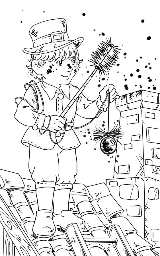 Balayeuse de cheminée illustration libre de droits
