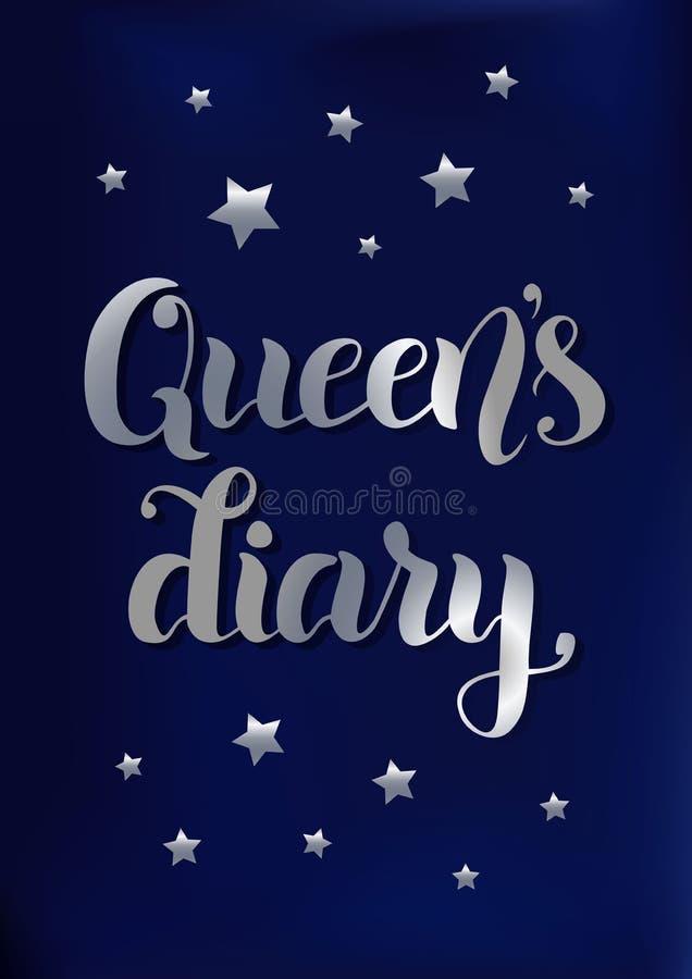 Balayez la calligraphie du journal intime du ` s de reine dans le gradient argenté sur stylisé en tant que fond bleu de velours d illustration de vecteur