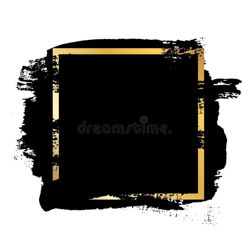 Balayez la course, zone de texte d'or, fond blanc d'isolement Pinceau noir Cadre grunge de course de texture Conception d'encre illustration de vecteur