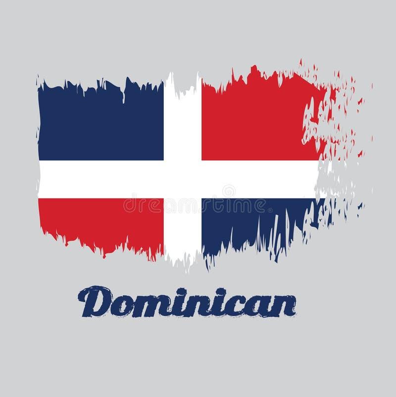 Balayez le drapeau de couleur de style du Dominicain, avec le texte dominicain illustration libre de droits