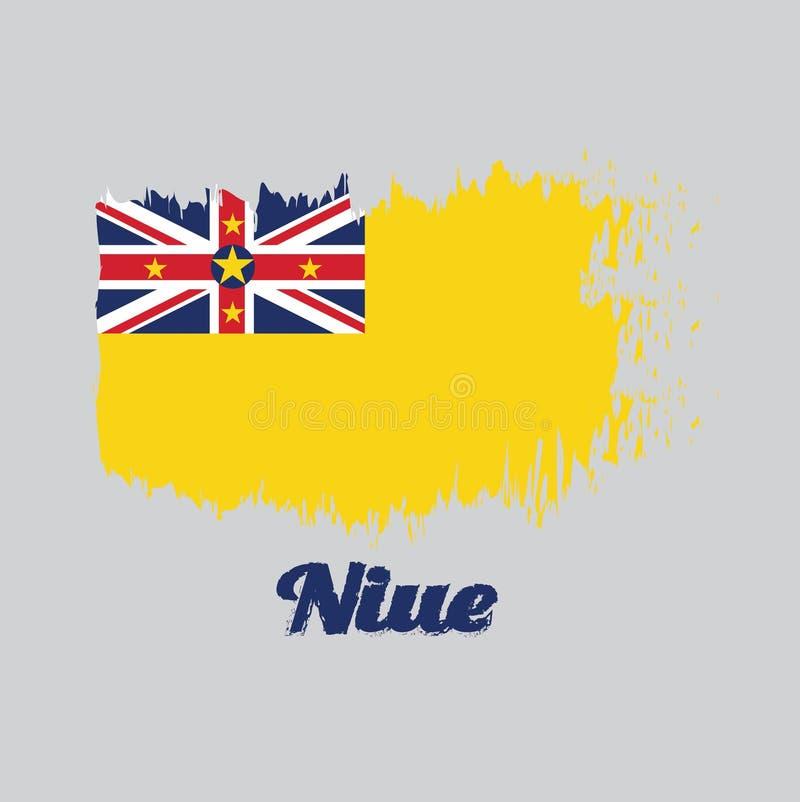 Balayez le drapeau de couleur de style du Niué, un drapeau jaune d'or avec Union Jack dans la gauche supérieure avec l'étoile illustration libre de droits