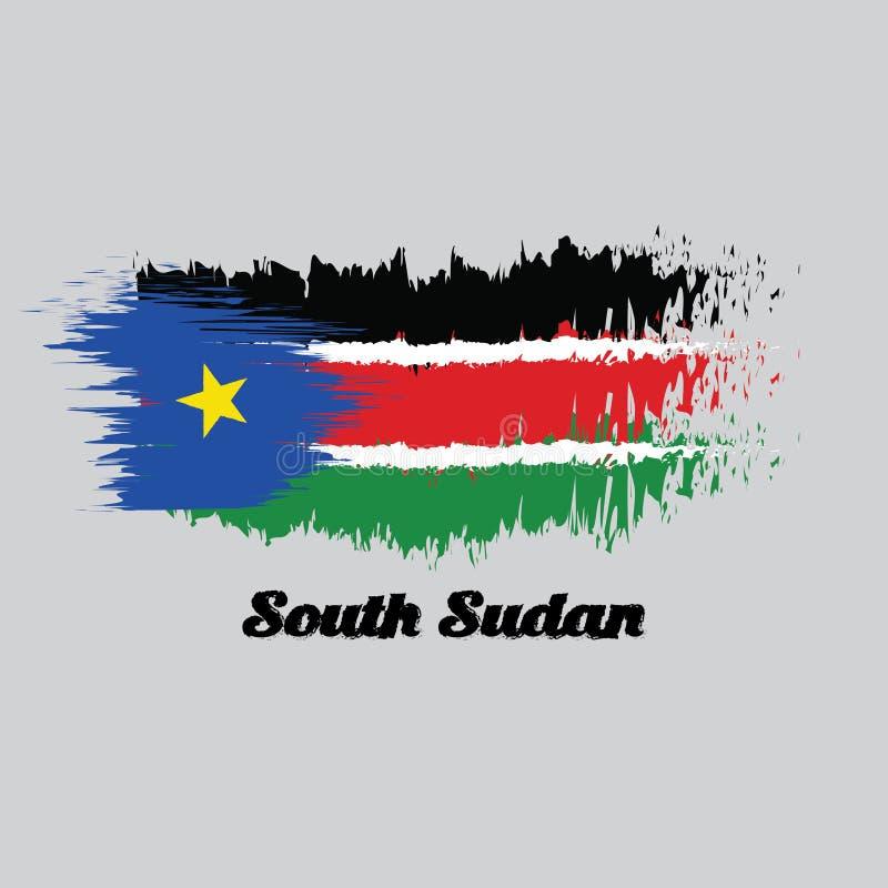Balayez le drapeau de couleur de style du Soudan du sud, noircissez rouge et vert avec les rayures blanches ; avec une triangle é illustration stock