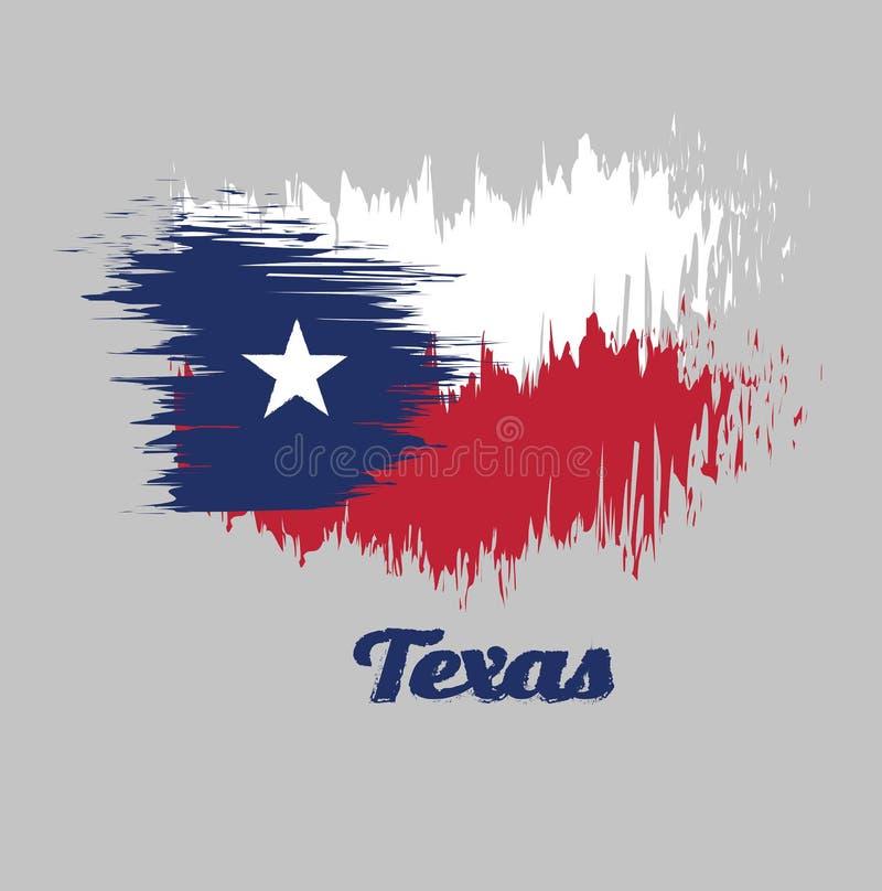 Balayez le drapeau de couleur de style du Texas, bleu contenant une étoile blanche centrée simple Le champ restant est divisé hor illustration libre de droits
