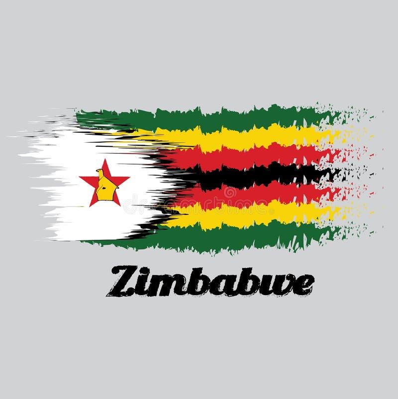 Balayez le drapeau de couleur de style du Zimbabwe, sept rayures horizontales de noir rouge jaune vert avec un blanc noir-bordé a illustration libre de droits