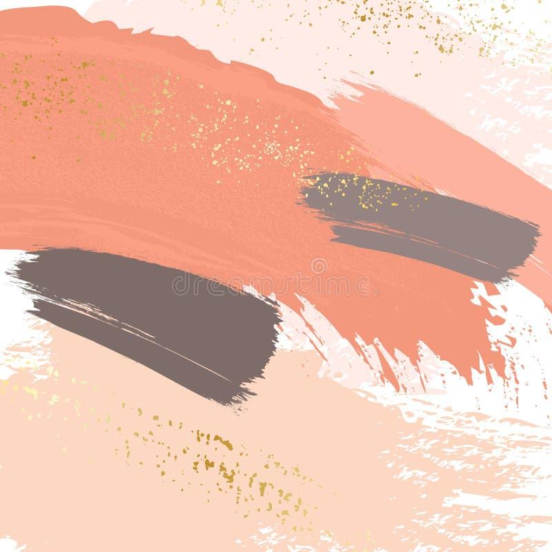 Balayez les courses dans des couleurs en pastel nues douces sur un fond blanc Calibre beige gris orange de luxe sensible de textu illustration de vecteur