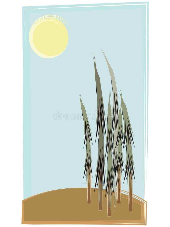 Balayez les rétro arbres de type de rappe sur la côte sous le soleil illustration libre de droits