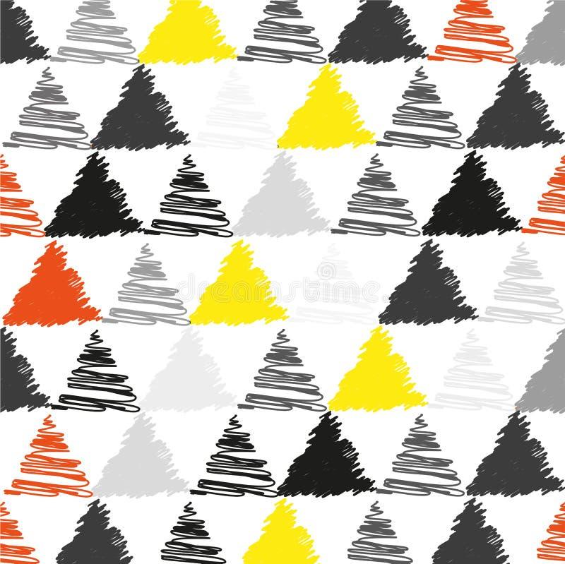Balayez les triangles tirées, modèle de vecteur de pyramide Fond noir et jaune, géométrique de style de griffonnage Texture tirée illustration stock