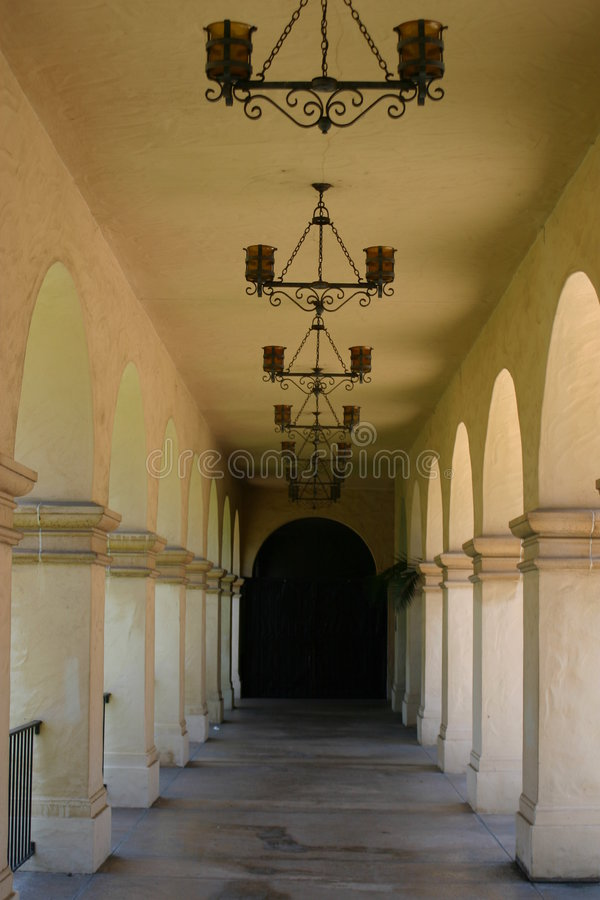 Balboa park hallway royalty free stock photo