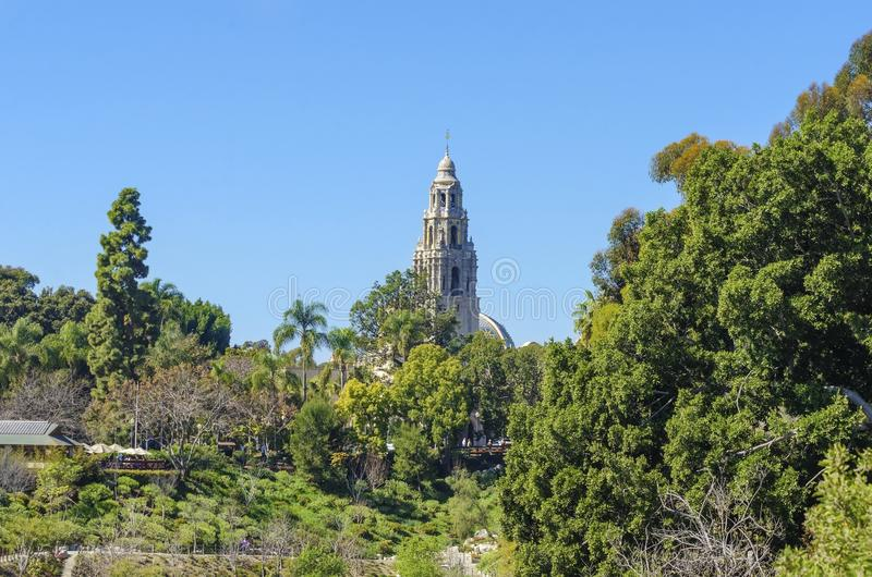 Balboa Park, San Diego, California. A view of the bell tower of the historic museum of man in the Balboa park gardens in San Diego, southern California, United stock photography