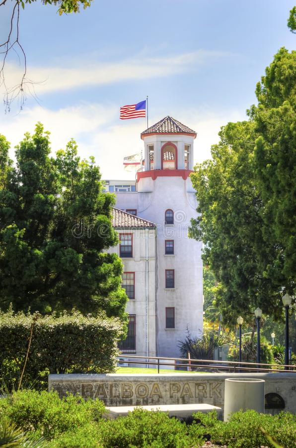 Balboa Park, San Diego, California. A view of the tower of the historic Naval Medical Center and the sign in the Balboa park gardens in San Diego, southern stock photography