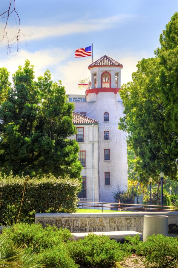 Balboa Park, San Diego, California. A view of the tower of the historic Naval Medical Center and the sign in the Balboa park gardens in San Diego, southern stock images