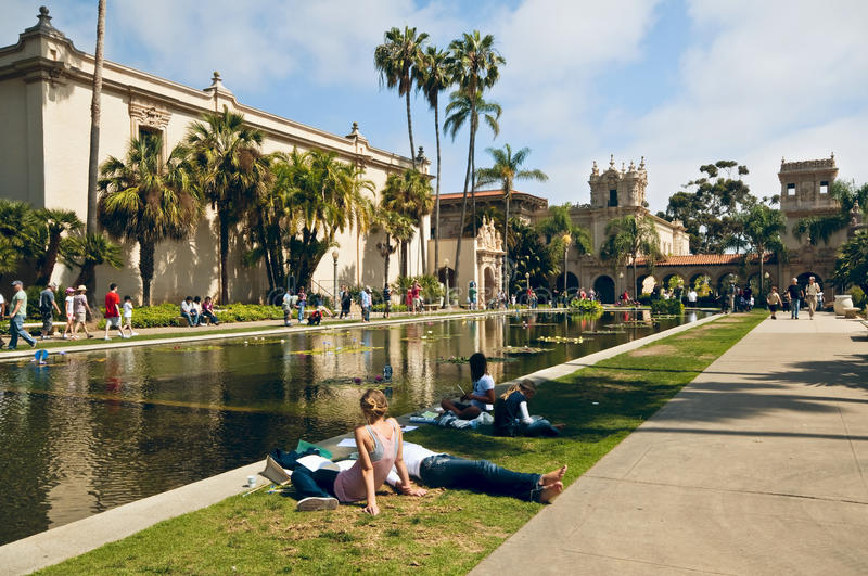 Balboa Park Weekend, San Diego California. People enjoying a Saturday in Balboa Park, San Diego, California, an urban cultural park which was home to the 1915 royalty free stock image