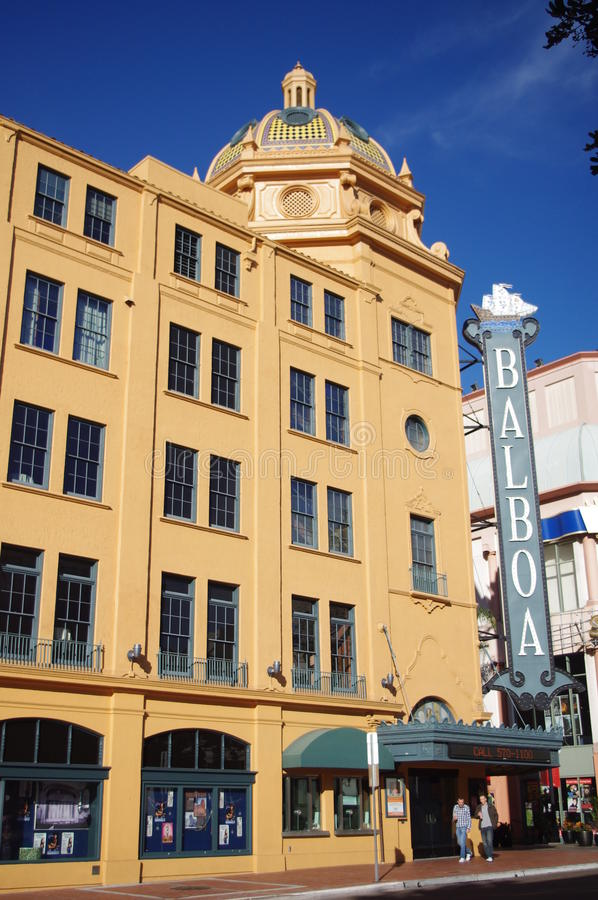 Historic Balboa theatre in San Diego stock photography