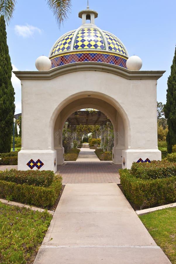 Balboapark wölbt Promenade San Diego California. lizenzfreie stockfotos