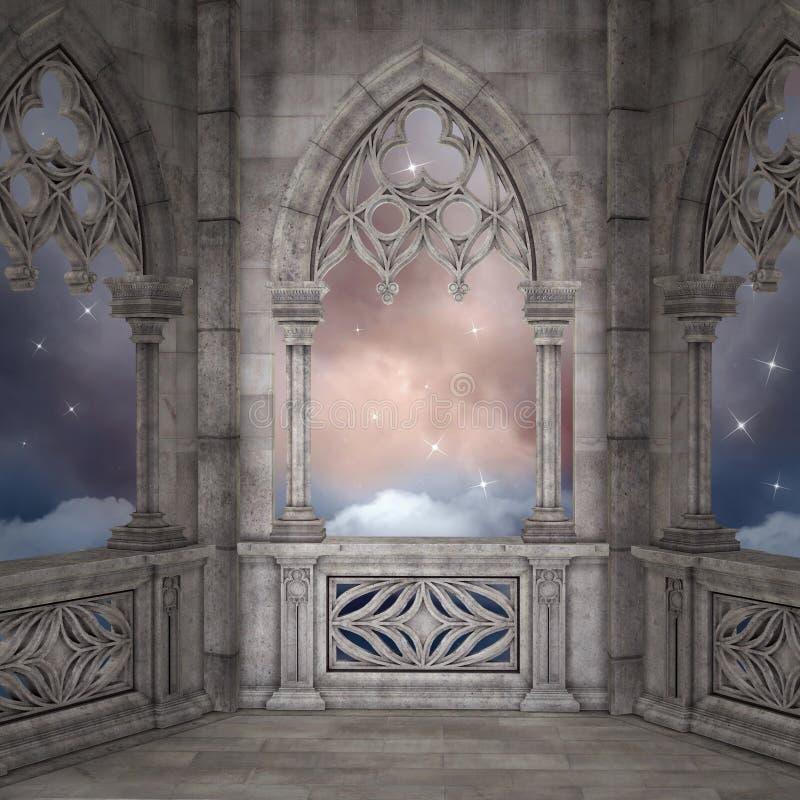 Balcão antigo do palácio em uma noite estrelado ilustração royalty free