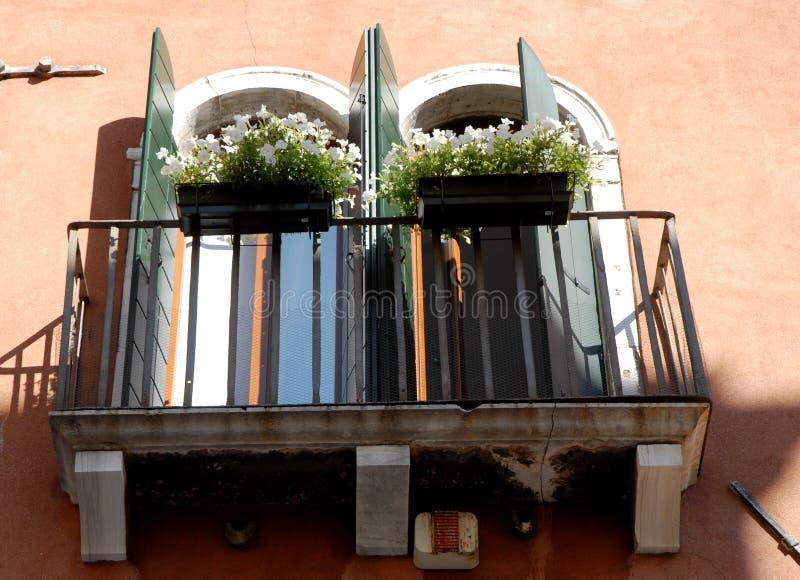 Balcão com simetrias das janelas e das flores em Veneza fotografia de stock