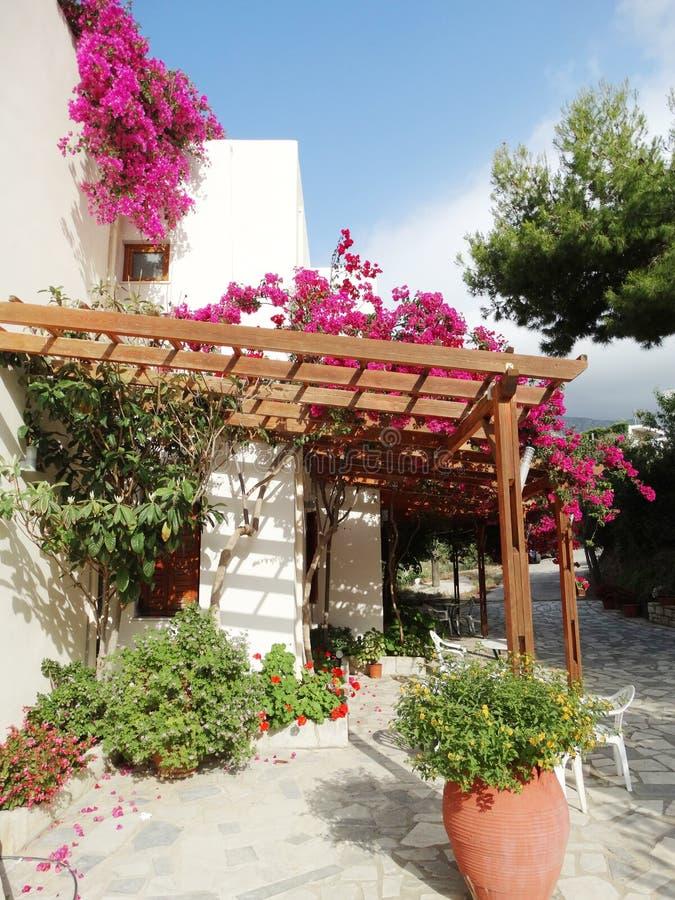Balcão da construção do hotel de luxo e santorini Grécia do terraço foto de stock
