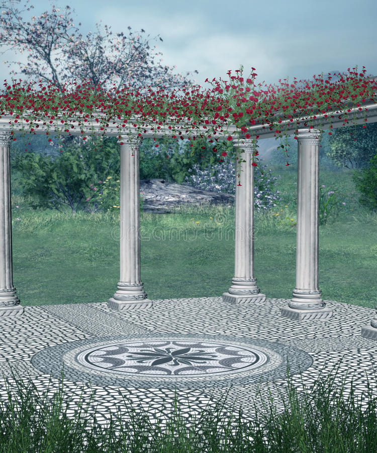 Balcão da fantasia com flores vermelhas ilustração do vetor