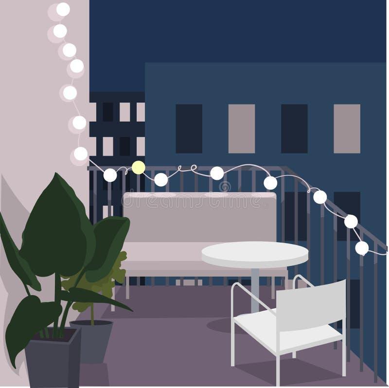 Balcão da noite com sofá, tabela e flores Ilustração do vetor ilustração do vetor