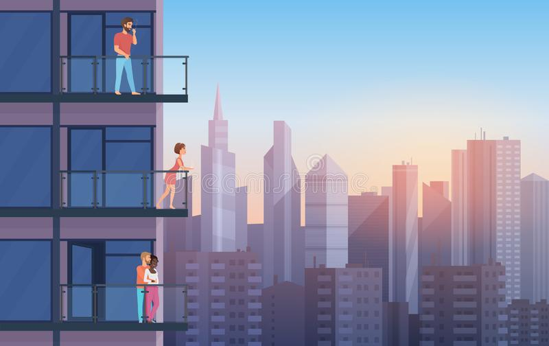Balcão do apartamento na casa moderna com os povos de descanso no por do sol Vetor urbano dos desenhos animados do fundo dos arra ilustração do vetor